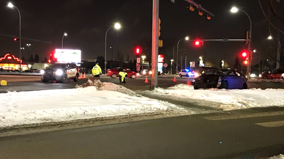 Edmonton Police Service said one of its vehicles was involved in a crash near the Northgate Centre, at 97 Street and 137 Avenue, on Jan. 26, 2020.