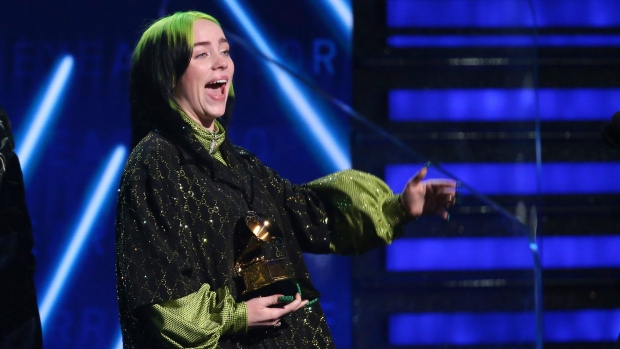 Billie Eilish accepts the award for record of the year for 'Bad Guy' at the 62nd annual Grammy Awards on Sunday, Jan. 26, 2020, in Los Angeles. (Photo by Matt Sayles/Invision/AP)