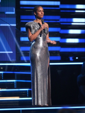 Host Alicia Keys speaks at the 62nd annual Grammy Awards on Sunday, Jan. 26, 2020, in Los Angeles. (Photo by Matt Sayles/Invision/AP)