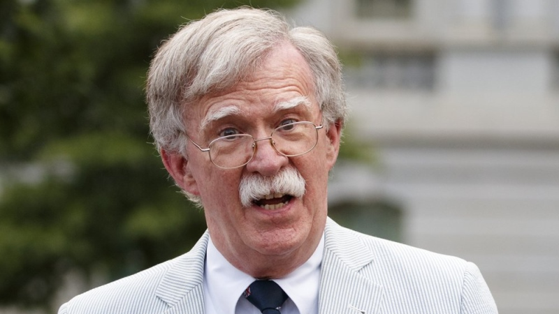 FILE - In this July 31, 2019 file photo, then U.S. National security adviser John Bolton speaks to media at the White House in Washington. (AP Photo/Carolyn Kaster)