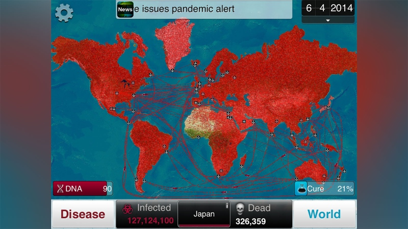 """Plague Inc. players can watch as their disease spreads from country to country. Ndemic Creations said that its game was designed to be """"realistic and informative, while not sensationalizing serious real-world issues."""" (Courtesy Ndemic Creation/CNN0"""