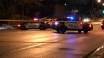 Police vehicles are seen on Wilson Avenue on Jan. 27, 2020 after a shooting that injured a woman. (Mike Nguyen/CP24)