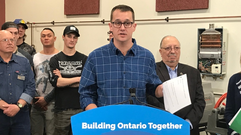Minister of Labour, Trades and Skills Development Monte McNaughton makes an announcement at Lambton College in Sarnia, Ont. on Monday, Jan. 27, 2020. (Sean Irvine / CTV London)
