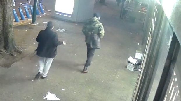 Vancouver police have released surveillance footage from the West End on Nov. 30, 2019 when a man was seriously assaulted. They hope to speak with three people who they believe know what happened. (Vancouver Police Department)