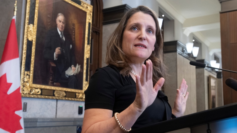 Deputy Prime Minister and Minister of Intergovernmental Affairs Chrystia Freeland speaks with the media about the USMCA trade agreement in the Foyer of the House of Commons on Parliament Hill in Ottawa, Monday January 27, 2020. THE CANADIAN PRESS/Adrian Wyld