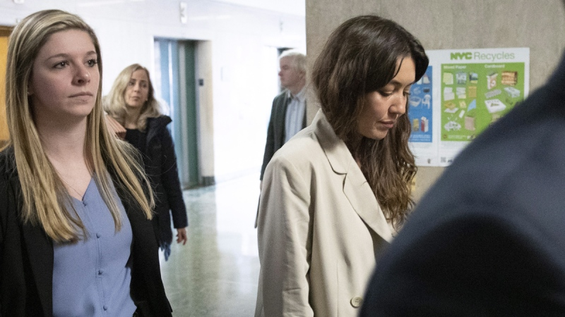 Mimi Haleyi, right, arrives to testify in Harvey Weinstein's trial on charges of rape and sexual assault, on Jan. 27, 2020. (Mark Lennihan / AP)