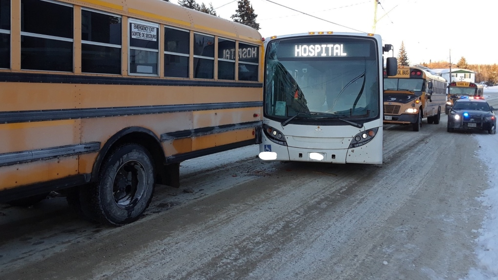 transit bus and school bus collide in Cobalt