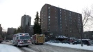 Firefighters responded around 3:30 Sunday afternoon to the 13-storey building at 530 25th Street East.