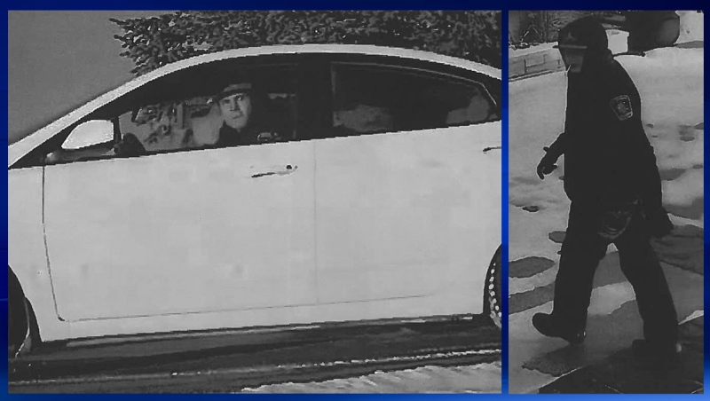 Surveillance stills of the suspects and suspect vehicle in connection with a break-in attempt at a home west of Airdrie (RCMP)