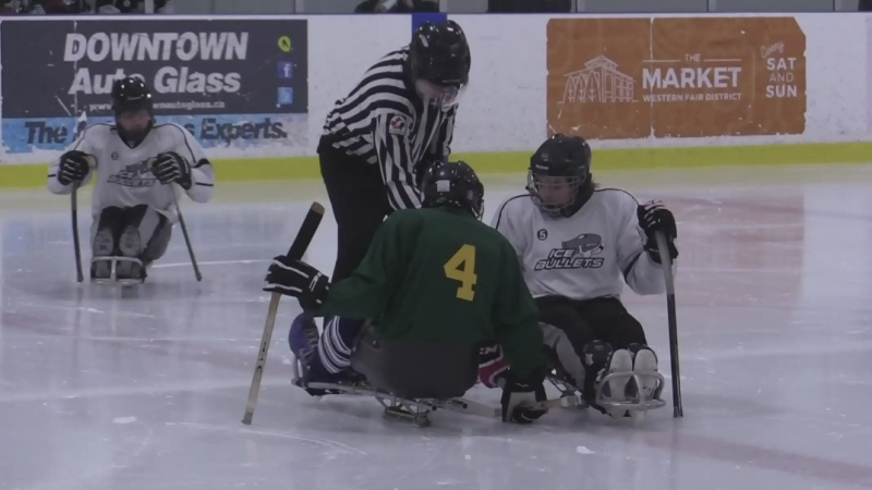 The Elgin Imperial sledge hockey team takes the ice. (Brent Lale / CTV London)