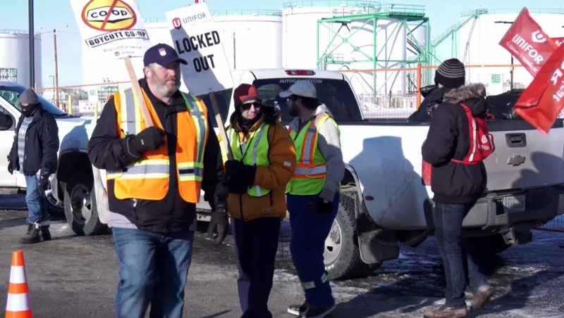 Dozens of Unifor members from across the country are walking the picket line outside the Co-Op cardlock fuel station in Carseland, Alta.