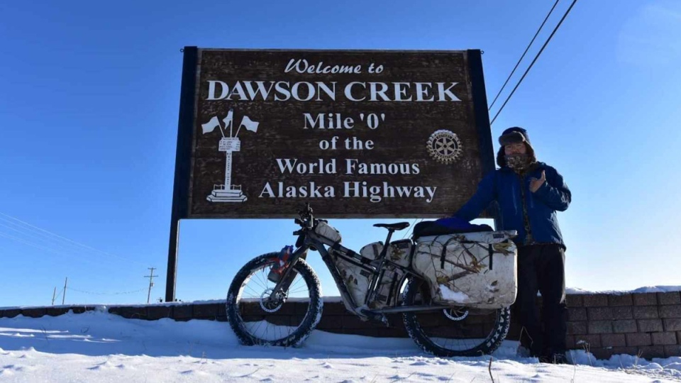 Masaaki Yoshino is travelling all the way from Alaska to California on his tourist bike. (Supplied)