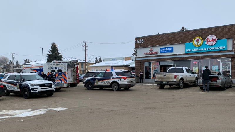 Saskatoon police are investigating an armed robbery at a business Monday afternoon in the 1500 block of Eighth Street East. (Nicole Di Donato/CTV Saskatoon)