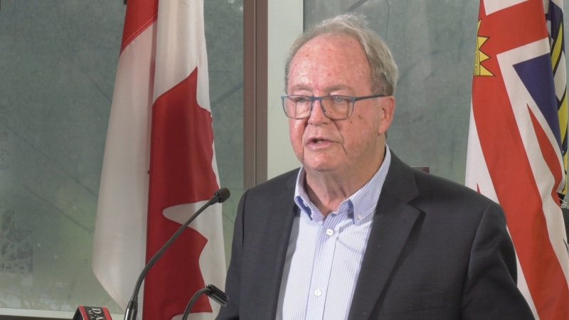 Surrey Mayor Doug McCallum is seen at a news conference at city hall on Jan. 27, 2020. The mayor said he supports ride hailing but it has to be on a level playing field with the taxi industry.