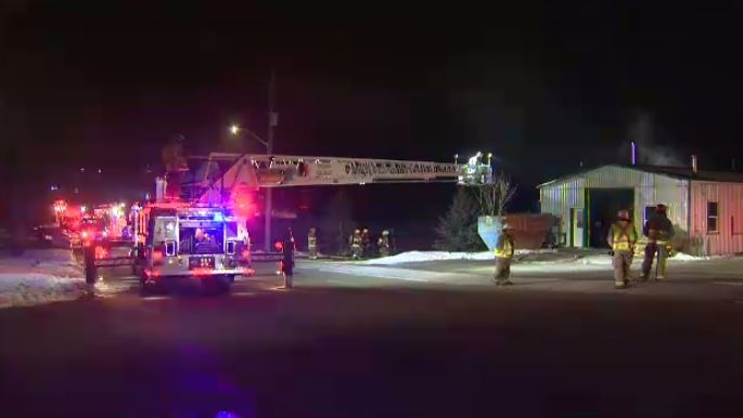 Crews battle fire in basement of metal fabricating