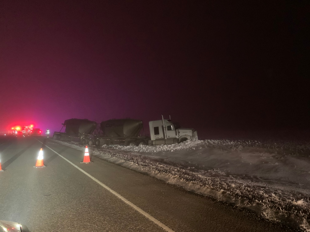 Collision involving semi-truck near kindersley