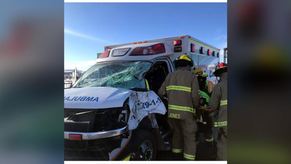Ambulance smashed