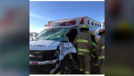 An ambulance was involved in a collision Monday on Stoney Trail in Calgary. Three people are injured.