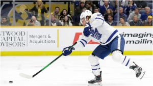 Toronto Maple Leafs right wing William Nylander shoots and scores on a breakaway against the Nashville Predators in the first period of an NHL hockey game Monday, Jan. 27, 2020, in Nashville, Tenn. (AP Photo/Mark Humphrey)