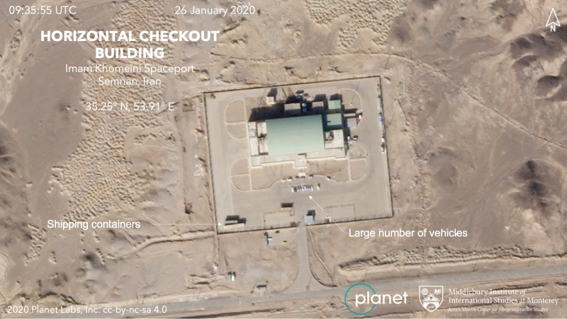 This Jan. 26, 2020, satellite image shows activity at the Imam Khomeini Space Center in Iran's Semnan province. Iranian officials and satellite images suggest the Islamic Republic is preparing to launch a satellite into space. (Planet Labs Inc. Middlebury Institute of International Studies via AP)