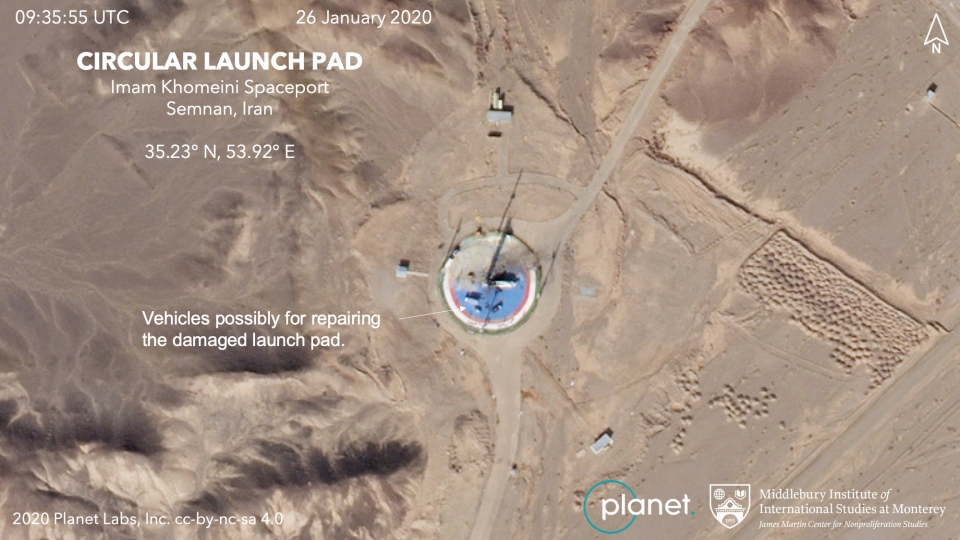 This Jan. 26, 2020, satellite image shows preparations at a rocket launch pad at the Imam Khomeini Space Center in Iran's Semnan province. (Planet Labs Inc, Middlebury Institute of International Studies via AP)