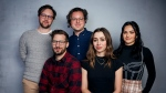 "Director Max Barbakow, from left, Andy Samberg, writer Andy Siara, Cristin Milioti and Camila Mendes pose for a portrait to promote the film ""Palm Springs"" at the Music Lodge during the Sundance Film Festival on Saturday, Jan. 25, 2020, in Park City, Utah. (Photo by Taylor Jewell/Invision/AP)"