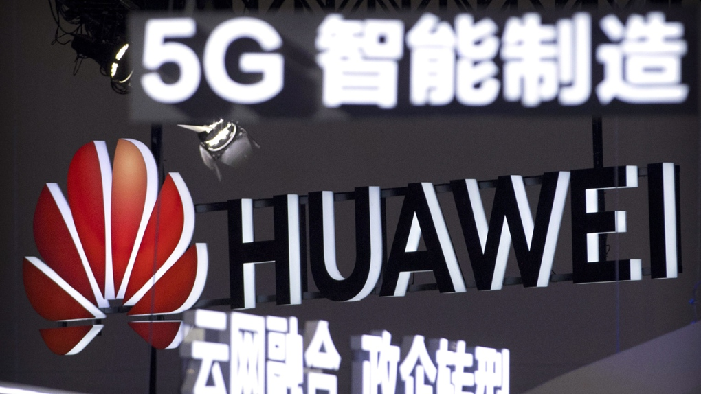 Signs promoting Huawei 5G technology