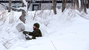 A soldier from the 4th Artillery Regiment based at CFB Gagetown clears snow at a residence in St. John's on Monday, January 20, 2020. The state of emergency ordered by the City of St. John's continues, leaving most businesses closed and vehicles off the roads in the aftermath of the major winter storm that hit the Newfoundland and Labrador capital. THE CANADIAN PRESS/Andrew Vaughan