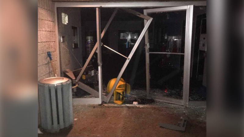 Damage to the community centre in Hensall, Ont. is seen following a theft attempt on Saturday, Jan. 25, 2020. (Source: Municipality of Bluewater)