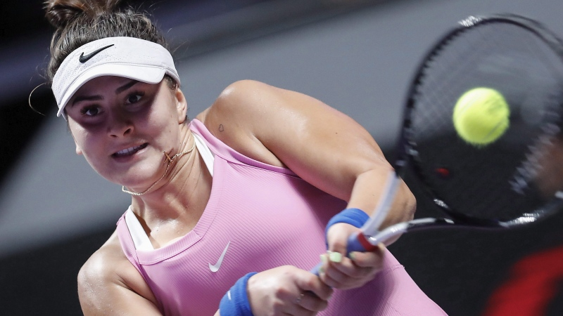 Bianca Andreescu of Canada hits a return shot against Simona Halep of Romania during their WTA Finals Tennis Tournament in Shenzhen, China's Guangdong province, Monday, Oct. 28, 2019. THE CANADIAN PRESS/AP-Andy Wong