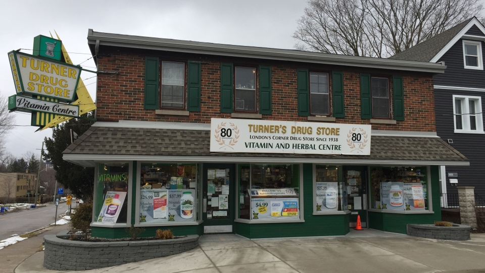 Turner's Drug Store in London, Ont. is one of several in the city that have run out of medical masks as of Tuesday, Jan. 28, 2020. (Bryan Bicknell / CTV London)