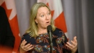 Minister of Middle Class Prosperity and Associate Minister of Finance Mona Fortier speaks to media during the Liberal Cabinet Retreat at the Fairmont Hotel in Winnipeg, Sunday, Jan. 19, 2020. THE CANADIAN PRESS/Mike Sudoma