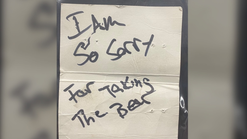Along with the bear, officers also found a note at the scene that read: 'I am so sorry for taking the bear.' (RCMP photo)