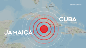 A 7.7-magnitude earthquake was recorded between Cuba and Jamaica on Tuesday.