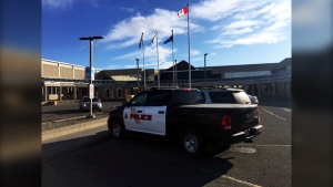 Lethbridge police investigate an incident at Lethbridge College on Tuesday, January 28. The college was closed for the day and campus evacuated.