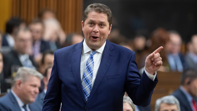 Leader of the Opposition Andrew Scheer rises during Question Period in the House of Commons, Tuesday, January 28, 2020 in Ottawa. THE CANADIAN PRESS/Adrian Wyld