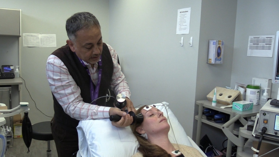 Dr. Amer Burhan demonstrates Electroconvulsive Therapy at the Parkwood Institute in London, Ont. on Tuesday, Jan. 29, 2020. (Celine Zadorsky / CTV London)