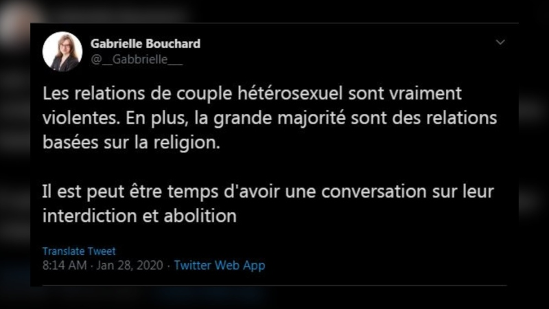 Tweet by Gabrielle Bouchard.