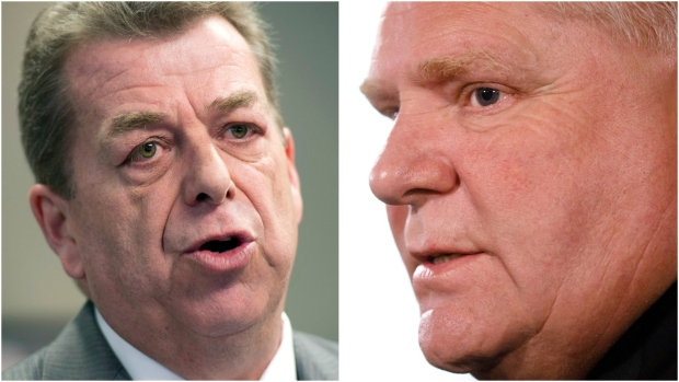 """ETFO president Sam Hammond (left) said he is """"optimistic"""" that the Ford government's negotiators will engage in """"meaningful bargaining.""""(The Canadian Press/Frank Gunn/Cole Burston)"""