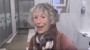 Nan Finlayson speaks after the decision was made by the city to expropriate her home at 100 Stanley Street in London, Ont. on Tuesday, Jan. 28, 2020. (Daryl Newcombe / CTV London)