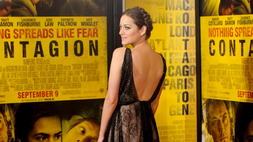 Actress Marion Cotillard attends the premiere of 'Contagion' at Jazz at Lincoln Center on Wednesday, Sept. 7, 2011 in New York. (AP Photo/Evan Agostini)