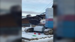 A crane broke and fell on the Peace River bridge on Tuesday, Jan. 28, 2020. No one was injured. (Alberta Transportation)