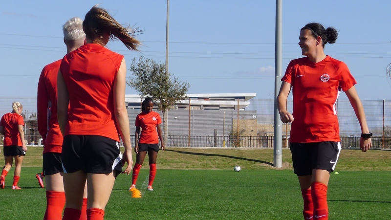 Members of Canada's women's soccer team including Christine Sinclair (right) train in Edinburg, Texas, Tuesday, Jan. 28, 2020, in advance of their match Wednesday against St.Kitts and Nevis. THE CANADIAN PRESS/Neil Davidson