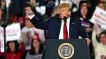 U.S. President Donald Trump waves as he speaks at a campaign rally Tuesday, Jan. 28, 2020, in Wildwood, N.J. (AP Photo/Mel Evans)