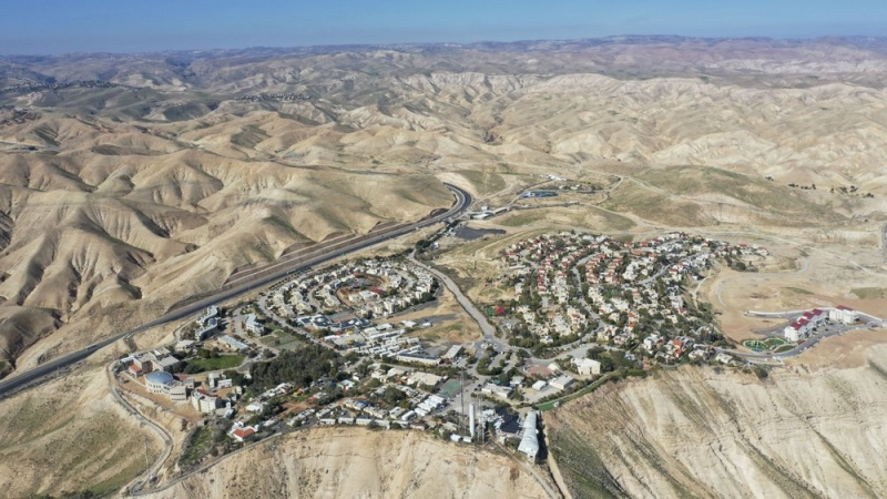 FILE - This Jan. 26, 2020, file photo, shows the view of the West Bank Jewish settlement of Mitzpe Yeriho. (AP Photo/Oded Balilty, File)