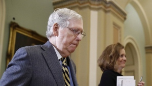 Senate Majority Leader Mitch McConnell of Ky., departs the chamber on Capitol Hill in Washington, Monday, Jan. 27, 2020, after the impeachment trial of U.S. President Donald Trump on charges of abuse of power and obstruction of Congress ended for the day. (AP Photo/Patrick Semansky)