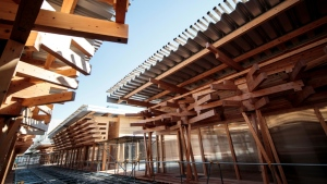 The Village Plaza will be a key part of the Athletes' Village and is constructed largely from wood donated by municipalities across Japan. (AFP)