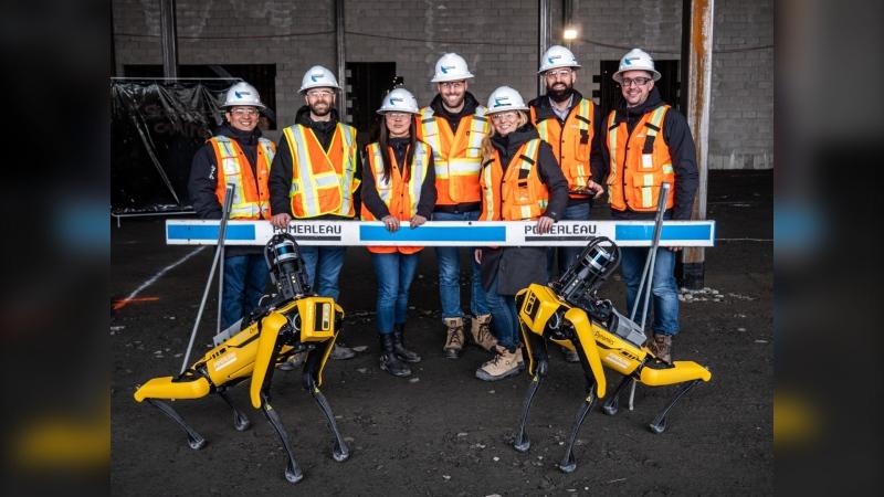 Robots nicknamed Spot and the innovation team at Pomerleau. (Photo: CNW)