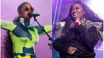 This combination photo shows H.E.R. performing at the 2019 Essence Festival in New Orleans on July 6, 2019, left, and Missy Elliott performing at the 2019 Essence Festival on July 5, 2019. (Amy Harris/Invision/AP)