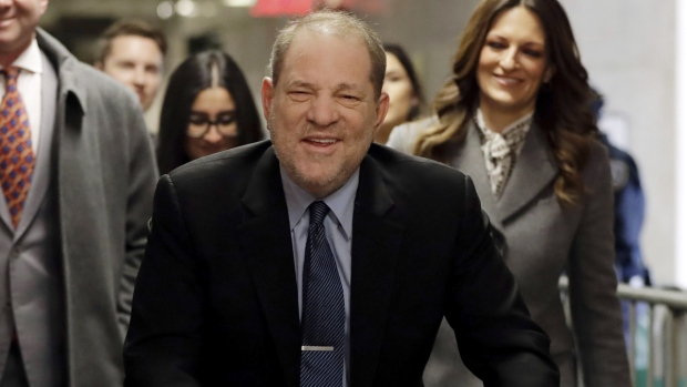 Harvey Weinstein arrives at court for his trial on charges of rape and sexual assault, on Jan. 29, 2020. (Richard Drew / AP)